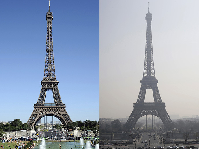 This combination of photos shows the Eiffel tower (R) in central Paris through a haze of pollution taken on March 14, 2014 and during clear weather (L) on August 17, 2012. (AFP Photo / Bertrand Guay / Kenzo Tribouillard)