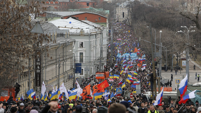 People take part in an anti-war procession and a rally in Moscow, March 15, 2014. (Reuters/Maxim Shemetov)