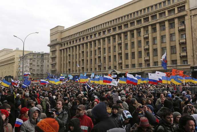 People take part in an anti-war rally in Moscow, March 15, 2014. (Reuters/Maxim Shemetov)