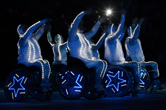 Wheelchair dancers perform during the Closing Ceremony of the XI Paralympic Olympic games at the Fisht Olympic Stadium near the city of Sochi on March 16, 2014 (AFP Photo / Kirill Kudryavtsev)
