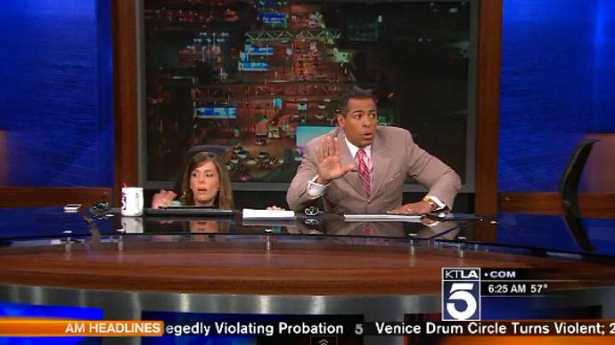 News anchors hide under studio desk as earthquake hits LA (VIDEO)