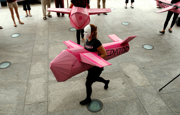 A Code Pink demonstrator wearing a mock drone (Reuters / Kevin Lamarque)