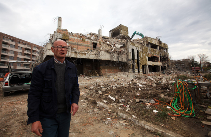 A worker walks in front of the remains of the former Chinese embassy during its demolition in Belgrade November 10, 2010. During the NATO offensive against Yugoslavia, U.S. warplanes bombed the Chinese embassy in Belgrade on May 7, 1999, killing three Chinese nationals, and consequently igniting protests outside the U.S. embassy in Beijing (Reuters)