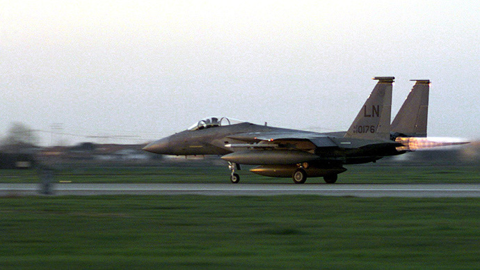 A US F-15C takes off from Cervia air base on a NATO mission over Yugoslavia 24 March, 1999. (AFP Photo)