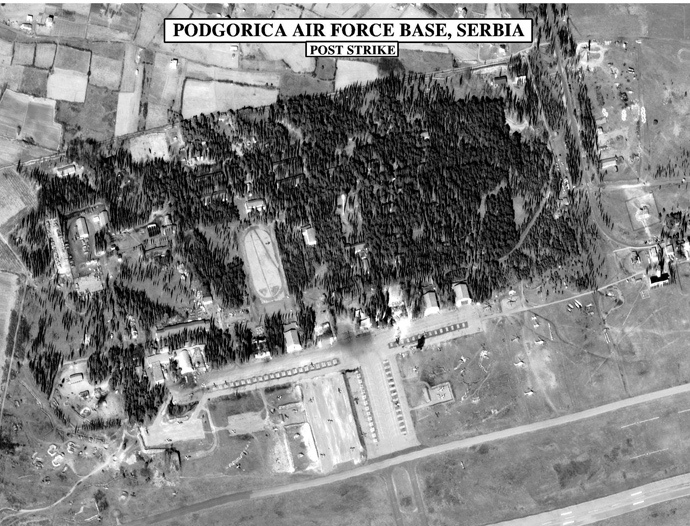 A NATO photo published 28th March 1999 of Podgorica air base after NATO bombed it. (AFP Photo)