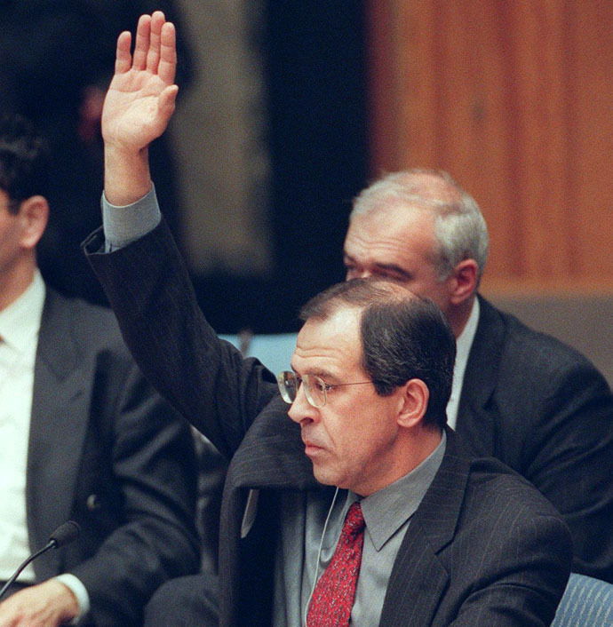 Sergey Lavrov, Russia's ambassador to the United Nations, at UNSC emergency meeting 26 March, 1999 (AFP Photo/Stan Honda)
