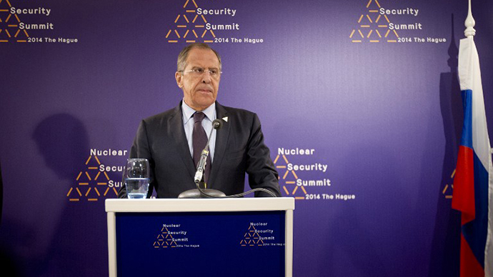 Russian Foreign Minister Sergei Lavrov holds a press conference in The Hague on March 24, 2014 on the sidelines of the Nuclear Security Summit (NSS). (AFP Photo / Evert-Jan Daniels)