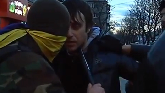 Vigilantes harass pro-Russian ribbon wearers in Ukraine