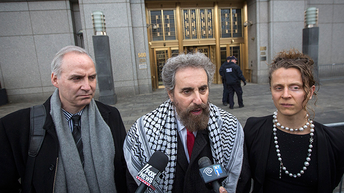 Suleiman Abu Ghaith's defense attorney Stanley Cohen (C) speak to the press outside the Manhattan Federal Court house in New York, March 24, 2014 (Reuters / Brendan McDermid)