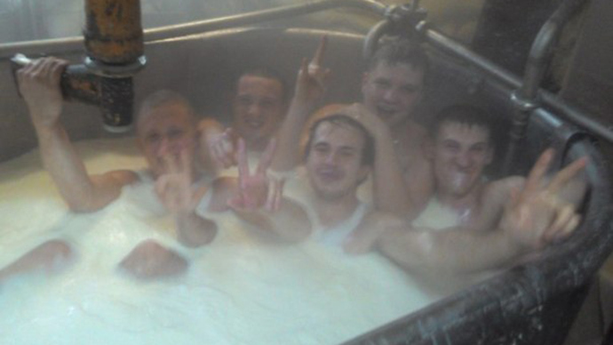 Crazy are the cheesemakers: Russian workers swimming in milk vat stir media scandal
