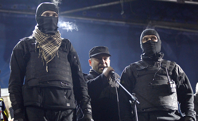 Yarosh, a leader of the Right Sector movement addresses during a rally in central Independence Square in Kiev (Reuters / David Mdzinarishvili)