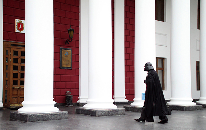 A Ukrainian wearing a Darth Vader costume walks into the city hall of the southern Ukrainian city of Odessa (AFP Photo)
