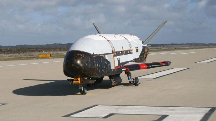 The X-37B Orbital Test Vehicle taxis on the flightline during testing at the Astrotech facility in Titusville, Florida in this U.S. Air Force handout photo dated March 30, 2010.(Reuters / U.S. Air Force)