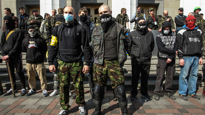 Ukrainian nationalists attack anti-coup motor rally with hammers and bats