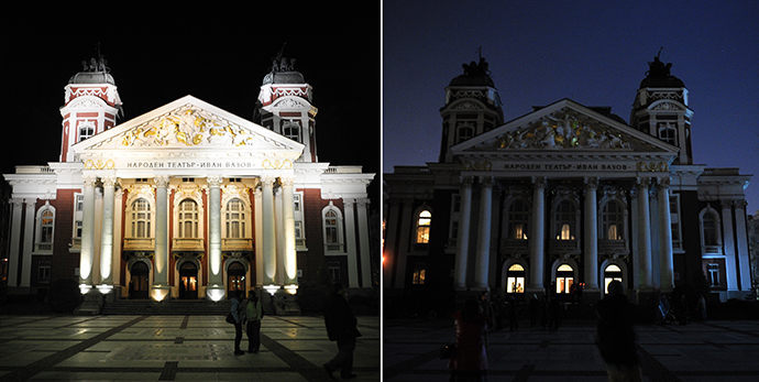 This combo of pictures shows the Bulgarian National Theatre with the lights on (L) and with the lights off (R), as part of the Earth Hour in Sofia on March 23, 2013. (AFP Photo / Nikolay Doychinov)