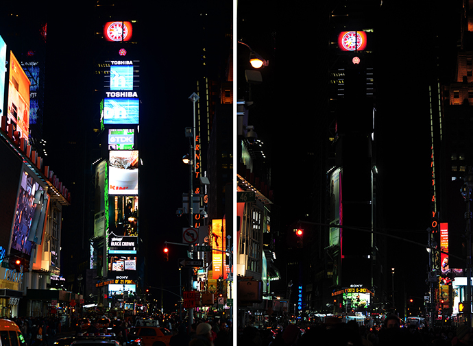 "In this combo photo large electronic billboards stand dark (R) on Times Square as their lights were turned off to mark ""Earth Hour"" in New York, March 23, 2013. (AFP Photo / Emmanuel Dunand)"