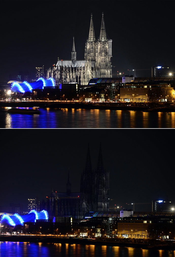 A combo picture shows the dome in Cologne during the the Earth Hour environmental campaign on March 29, 2014 in Cologne, western Germany. (AFP Photo / Henning Kaiser)