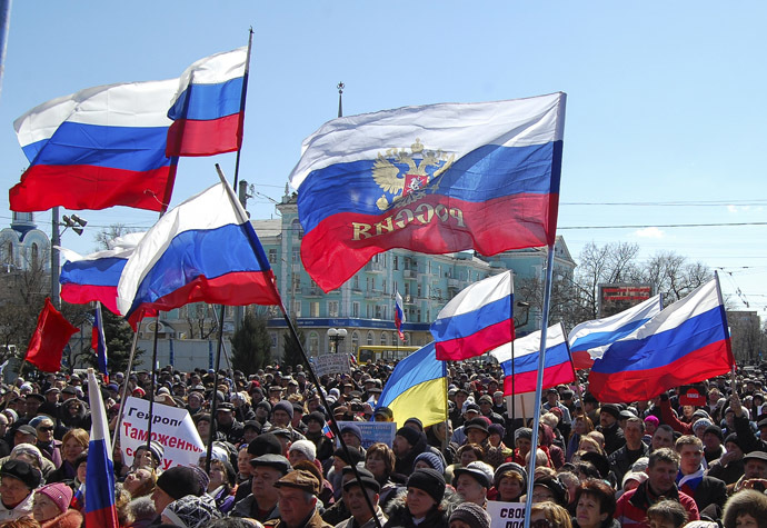 People take part in a pro-Russian rally in Luhansk in eastern Ukraine March 30, 2014. (Reuters)