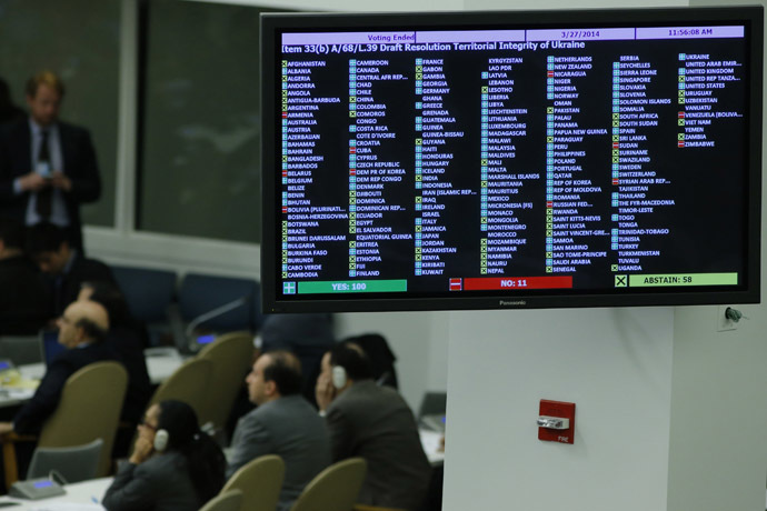 A screen shows the vote of delegates in the General Assembly about the draft resolution territorial integrity of Ukranine at the U.N. headquarters in New York March 27, 2014. (Reuters/Eduardo Munoz)