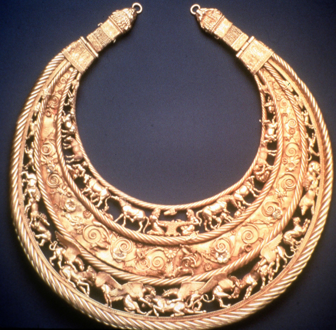 A Scythian gold pectoral from the Tovsta Mohyla kurhan, 4th century BC (Museum of Historical Treasures of Ukraine) (Reuters)