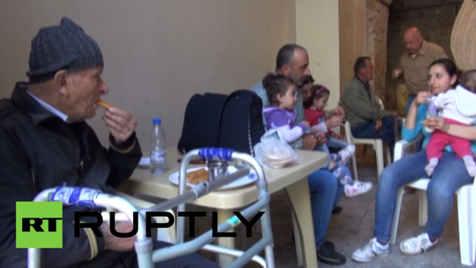 Refugees from Kassab city on the Syrian-Turkish border have found shelter in the St. George's Armenian monastery in Lattakia, Saturday.