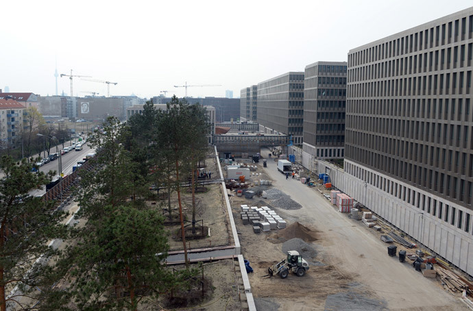 Construction work by new offices are pictured during the opening ceremony of the northern building complex of the new headquarters of the German Federal Intelligence Service (BND) on March 31, 2014 in Berlin, Germany. (AFP Photo / Pool / Soeren Stache)