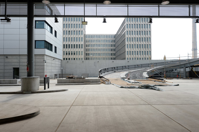 A driveway to the site under construction is pictured during the opening ceremony of the northern building complex of the new headquarters of the German Federal Intelligence Service (BND) on March 31, 2014 in Berlin, Germany. (AFP Photo / Pool / Soeren Stache)