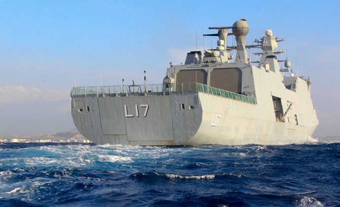 "A handout picture released by the Cypriot Press and Information Office (PIO) shows the Danish support vessel L17 ""Esbern Snare"", one of the vessels deployed to bring Syriaís chemical agents to destruction, on February 3, 2014, outside the southern Cypriot coastal town of Larnaca. (AFP Photo)"