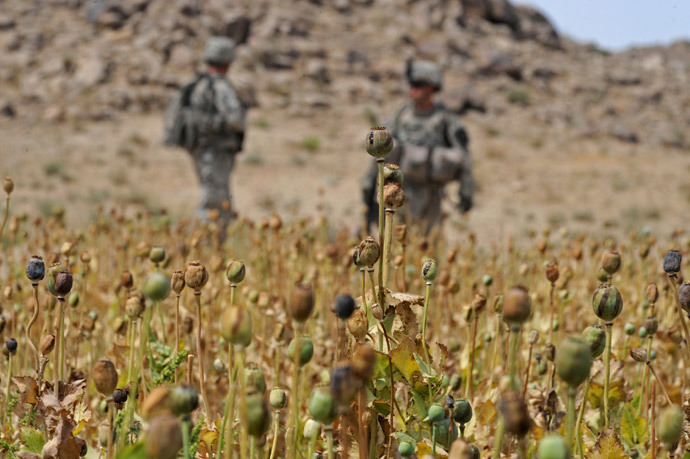 US soldiers from 4th platoon Alpha company 5/2 ID Stryker Brigade Combat Team (SBCT) 1-17 infantry batallion patrol near a poppy field in Shahwali Kot district Kandahar on May 11, 2010. (AFP Photo / Tauseef Mustafa)