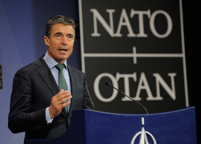 NATO Secretary General Anders Fogh Rasmussen speaks during a joint press conference after a Foreign Affairs meeting at the NATO Headquarters in Brussels on April 1, 2014. (AFP Photo / John Thys)