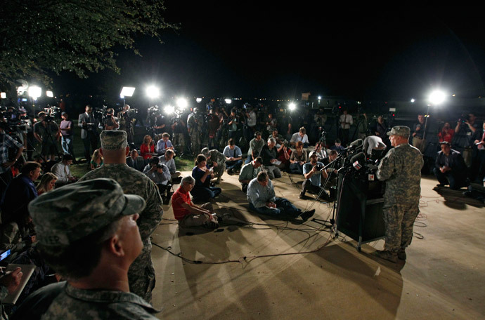 Lt. Gen. Mark Milley addresses the media during a news conference at the entrance to Fort Hood Army Post in Texas April 2, 2014. (Reuters / Erich Schlegel)