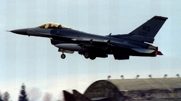 "US F-16 fighting Falcon takes off from Aviano airbase February 9th for NATO operation ""Deny Flight"" over Bosnia.(Reuters)"