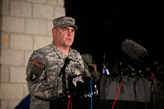 General Mark Milley, III Corps and Fort Hood Commanding General, speaks to media during a press conference about a shooting that occurred earlier in the day at Fort Hood Military Base on April 2, 2014 in Fort Hood, Texas. (Drew Anthony Smith / Getty Images / AFP)