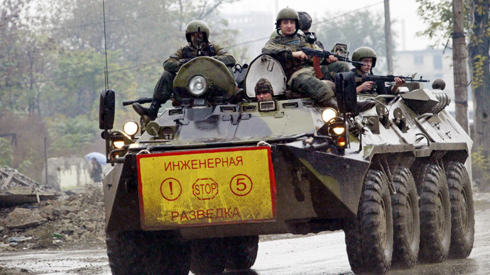 Four troops killed, 7 injured as armored infantry carrier trips mine in Chechnya