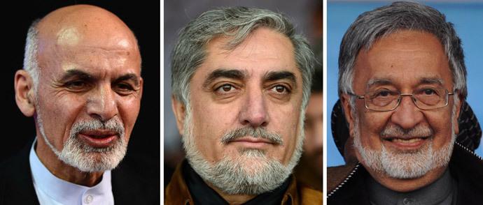 Ashraf Ghani Ahmadzai, Abdullah Abdullah, Zalmai Rassoul.(AFP Photo / Wakhil Kohsar / Hashmatullah)