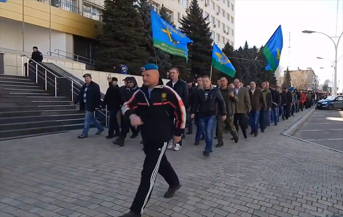 A march of airborne troops veterans in Lugansk. Screenshot from youtube video by user Sergey Zhuk