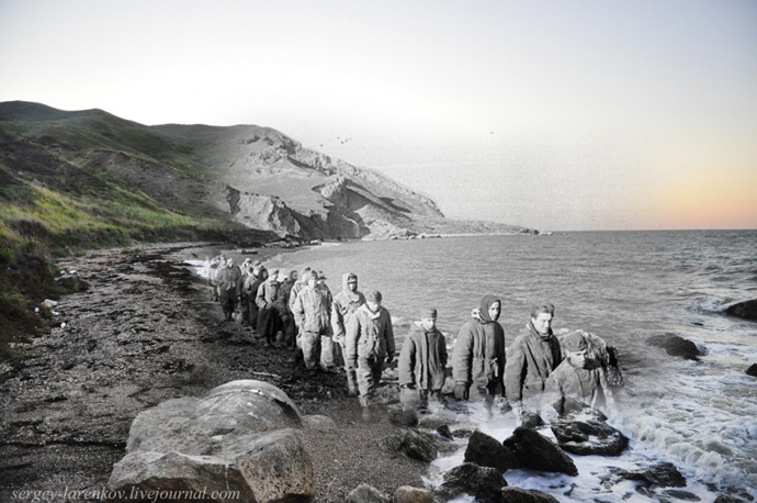 Captured Nazis, 1943 / Kerch, 2012. Photo combination by Sergey Larenkov.