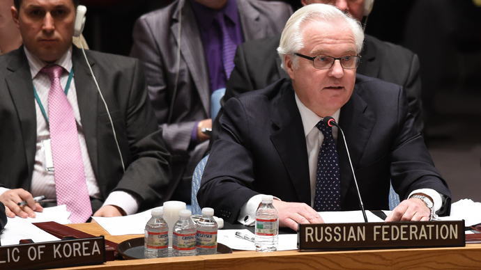 Russia's Ambassador to the UN Vitaly Churkin speaks at the United Nations Security Council during a meeting called by Russia April 13, 2014 at the United Nations in New York (AFP Photo / Don Emmert)