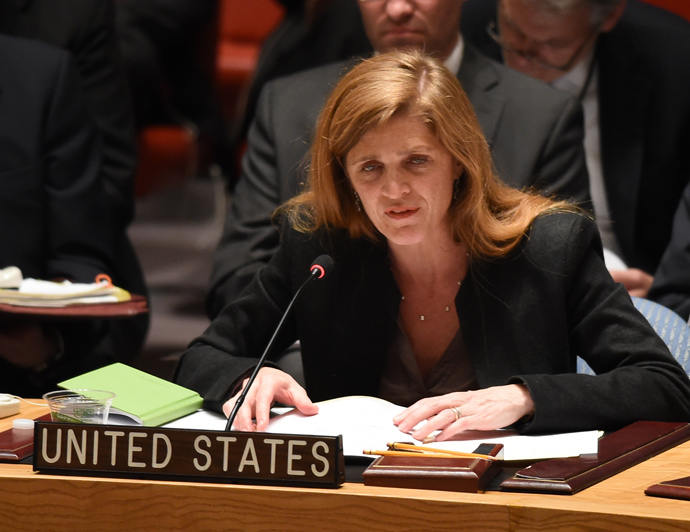 US Ambassador to the UN Samantha Power speaks at the United Nations Security Council during a meeting called by Russia April 13, 2014 at the United Nations in New York (AFP Photo / Don Emmert)