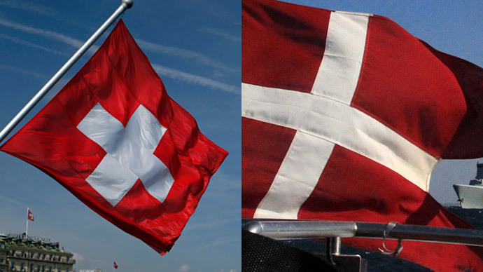 Swiss flag (L), (Reuters / Denis Balibouse) and Danish flag (AFP Photo / PIO / Stavros Ioannides)