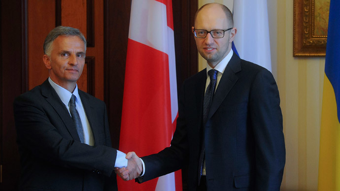 Oh, that awkward moment: Ukrainian PM greets Swiss president with Danish flag