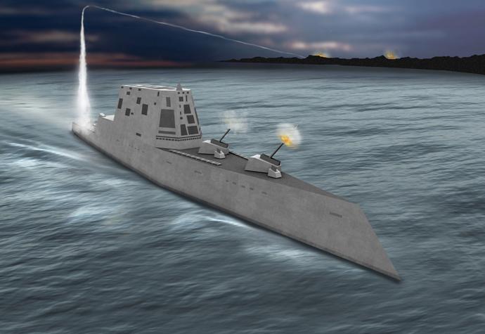 Concept view of the USS Zumwalt class destroyer (DDG-1000), image from http://peoships.crane.navy.mil