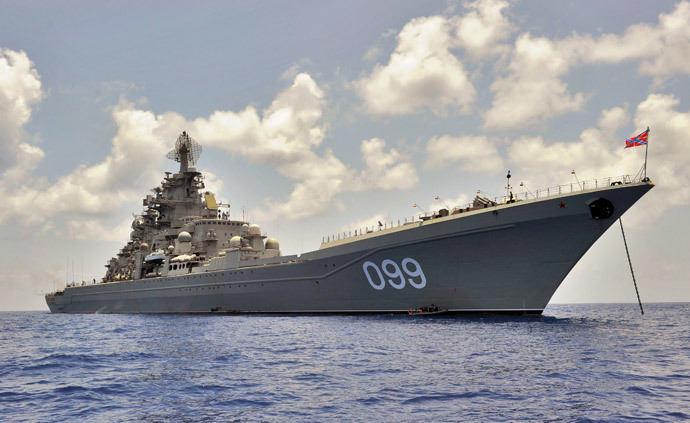Pyotr Veliky heavy nuclear-powered cruiser standing on roadstead. (RIA Novosti / Grigoriy Sisoev)