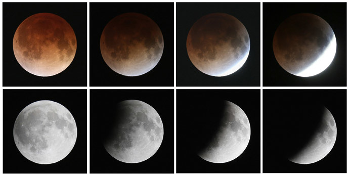 This composite image shows a sequence, from bottom left to top left, of the moon's transition during a total lunar eclipse on April 15, 2014 in Miami, Florida. (Joe Raedle / Getty Images / AFP)