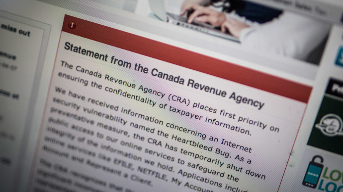 'Heartbleed' hacking spree: Canadian tax agency says hundreds of IDs stolen