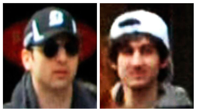 A combination of handout pictures released through the FBI website on April 18, 2013 show the suspects wanted for questioning in relation to the Boston Marathon bombing April 15. (Reuters / FBI / Handout)