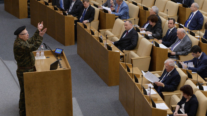 Vladimir Zhirinovsky wore combat fatigues in the parliament on Tuesday as a protest against the military operation launched by Kiev authorities against Ukrainian civilians (RIA Novosti/Vladimir Fedorenko)