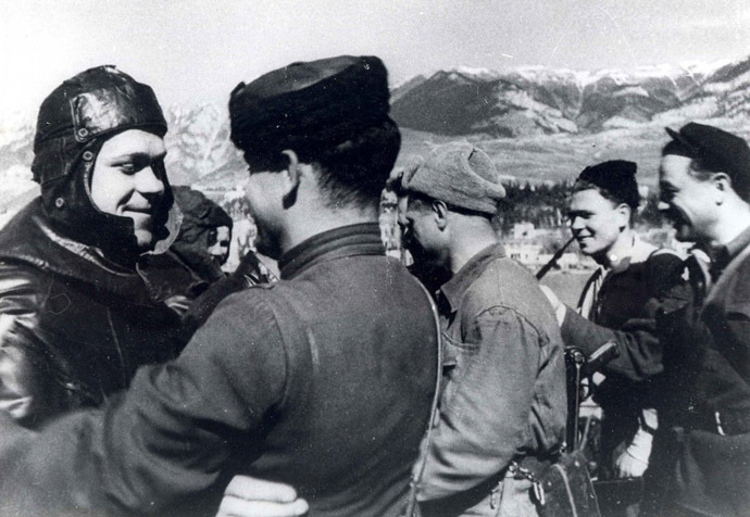 Soviet partisans meet with sailors in liberated Yalta, 1944.