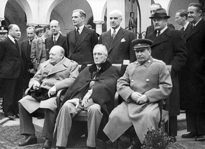 The leaders of the anti-Hitler coalition, from right to left, Soviet leader Josef Stalin, American President Franklin Roosevelt and British Prime Minister Winston Churchill at the Crimean Conference of the leaders of the three Allied powers in the Second World War, Yalta February 4-11, 1945. (RIA Novosti)