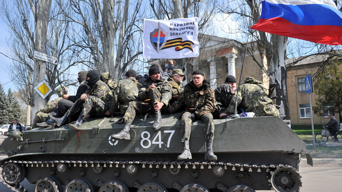 Dozens of Ukrainian troops surrender APCs in Slavyansk, refuse to 'shoot at own people' (PHOTO, VIDEO)